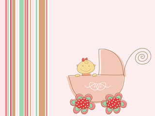 cute pink baby girl and pram (vector)