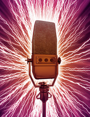 Funky illustration of an old fashioned microphone.
