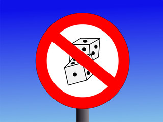 no gambling sign with dice