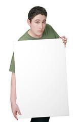 guy holding sign