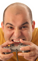 guy playing video game console controller