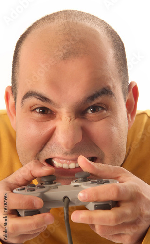 poster of guy playing video game console controller