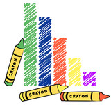 bar graph drawn with different color crayons  poster