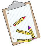 clipboard with lined paper and wax crayons poster