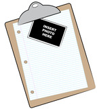 clipboard with lined paper and photo attached poster