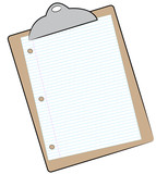 clipboard with sheet of lined paper attached  poster