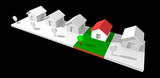 3d neighborhood houses isolated with clipping path. poster