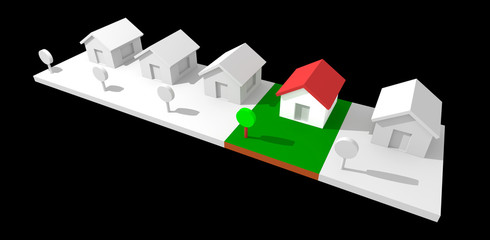 3d neighborhood houses isolated with clipping path.