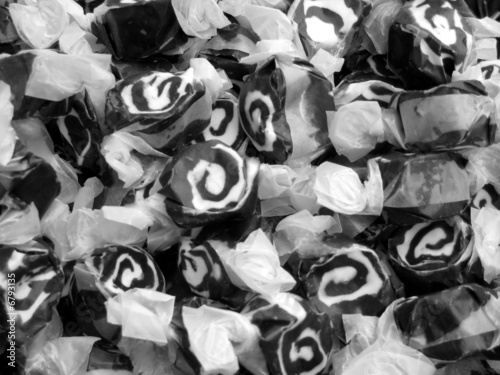 Taffy Candy, Sweets, Dessert, Black and White