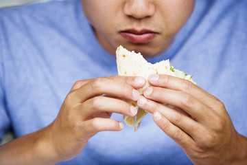 Close up of a man eating a sandwich.