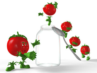 Red tomatoes jumping to the empty glass jar.