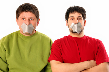 Two guys with adhesive tape on lips