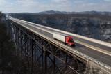 Trucker on New River Gorge Bridge - 6811972