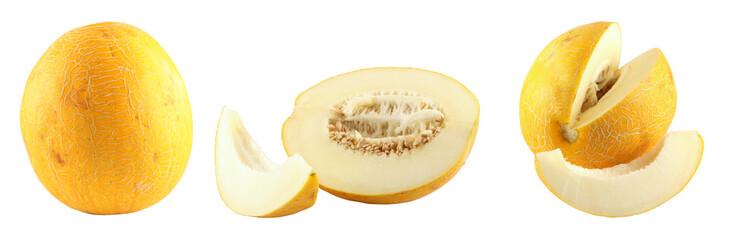 A melon and a piece of a melon close up