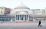 the pantheon in square Plebiscito to Naples poster