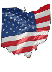 u.s. flag over Ohio