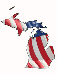 u.s. flag over Michigan