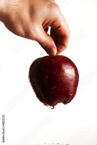A human hand holding a red delicious apple on white