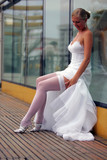 Sexy bride in white dress