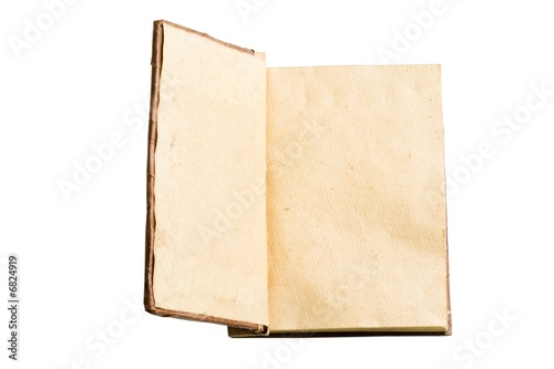 Opened hand made leaf note book on a white background
