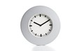 Modern silve wall clock on a white background