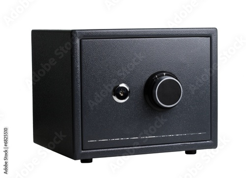 black steel safe on a white background