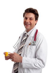 Smiling doctor with medicine