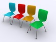 A group of colourful modern design office chairs.