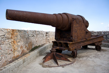Old rusty cannon at fortress