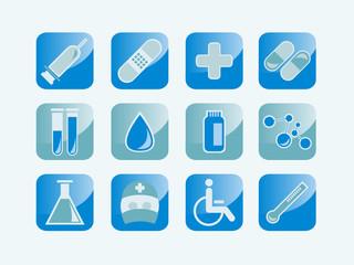 Icons und Symbole für Medizin, Labor, Forschung etc.