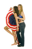 Attractive female American Patriots with flag poster