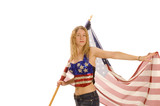 Attractive female American Patriot with flag poster