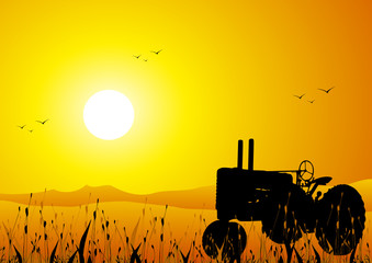 Rural landscape with farm tractor