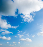 cloudscape of fluffy clouds in the blue sky poster