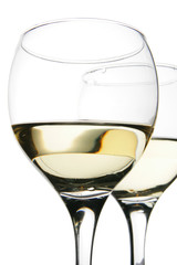 Couple glasses with white wine