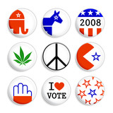 set of badges for USA election campaign poster