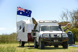 Camping in Australia with Australian flag poster