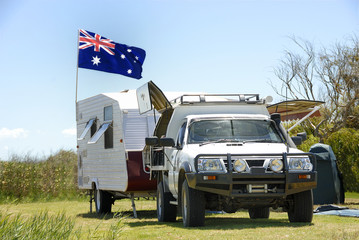 Camping in Australia with Australian flag