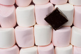 Marshmallows With Slab Chocolate Background poster