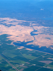 Arial View Farm Fields and Delta Area