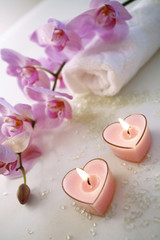 Candles with orchid