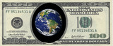 Picture of earth inside a one hundred dollar bill 2