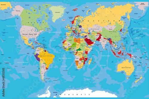 Staande foto Wereldkaart weltkarte_kompass