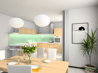 Modern kitchen. 3D render