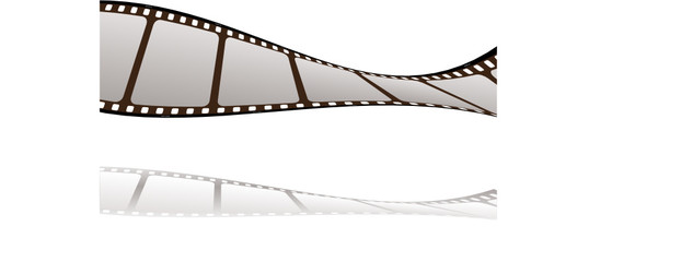 floating piece of film with drop shadow and white background