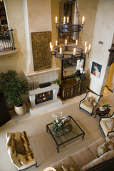 Living room with a fireplace and stylish decor.
