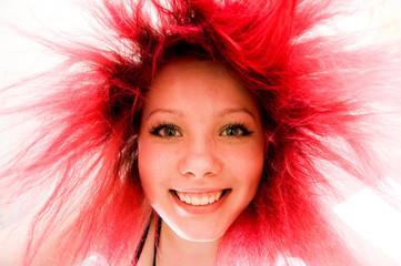 Crazy happy funny redhead