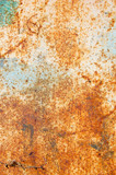 rusty metal surface with peeled paint and etched numbers poster