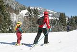 Fototapeta Ski mère et enfant