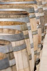 Many wine barrels